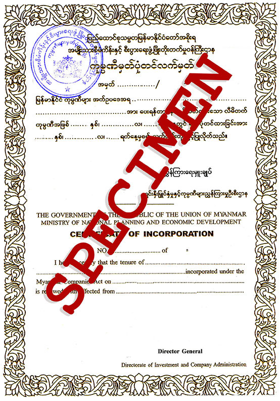 Visa myanmar example registration certificate for local company yelopaper Choice Image